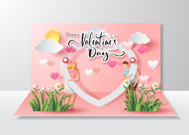 Buon san valentino, carta pop-up, coppia carina innamorata con palloncino con cornice cuore grande.