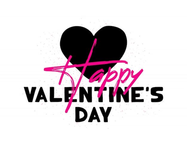 Buon san valentino. cartolina d'auguri di san valentino con scritte a forma di cuore.