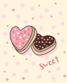 Buon san valentino con biscotti a forma di cuore