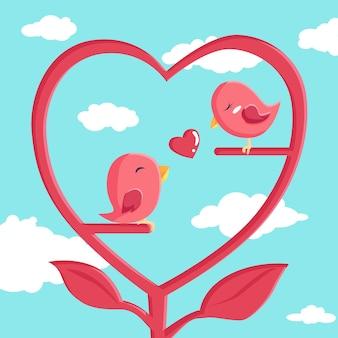 Buon san valentino con uccello innamorato