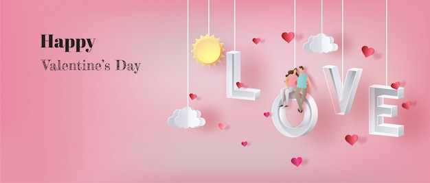 Buon san valentino, coppia innamorata, seduta sulla lettera amore.