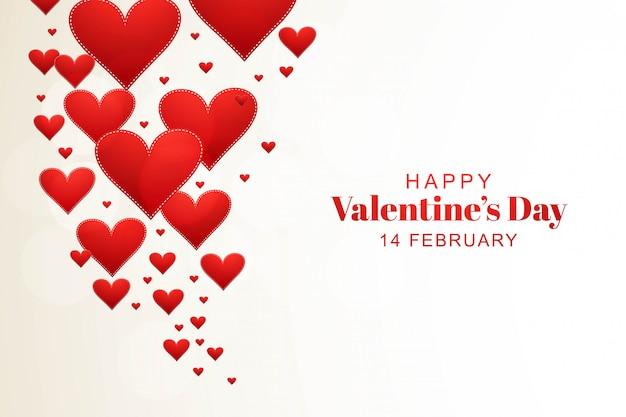 Buon san valentino cuori con biglietto di auguri