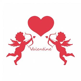 Buon san valentino, cupidi angeli con il cuore
