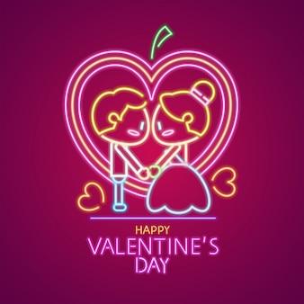Buon san valentino design al neon. coppia carina.
