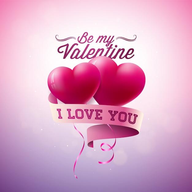 Buon san valentino design con palloncini cuore rosso