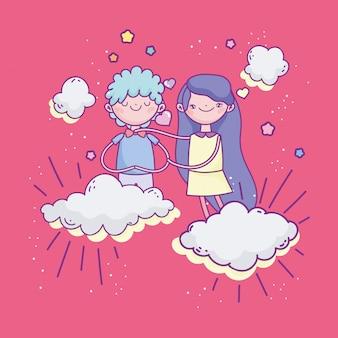 Buon san valentino, giovani coppie sveglie nei cuori delle nuvole amano romantico
