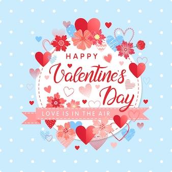 Buon san valentino - lettere dipinte a mano con diversi cuori e fiori. illustrazione romantica perfetta per carte, volantini di stampe, poster, inviti per le vacanze e altro. carta di san valentino vettoriale.