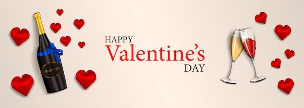 Buon san valentino, moderna bandiera orizzontale per il tuo design con una bottiglia realistica con fiocco blu