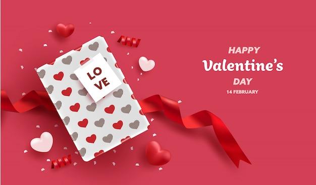 Buon san valentino. palloncini cuore 3d realistici e confezione regalo con motivo a cuore. amore stagione banner, auguri e carta.
