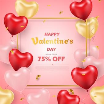 Buon san valentino. palloncini cuore realistico 3d con glitter. amore stagione banner, auguri e carta.