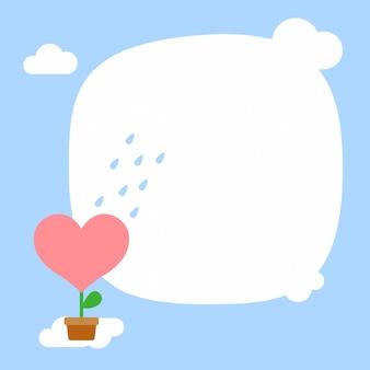 Buon san valentino, pioggia sulla pianta del fiore del cuore