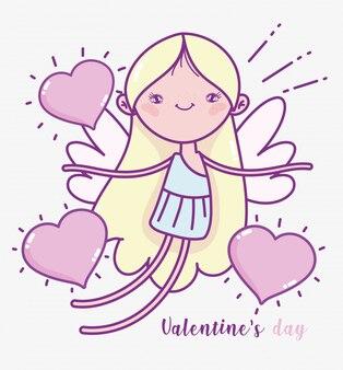 Buon san valentino, simpatici cuori di cupido amano la carta romantica