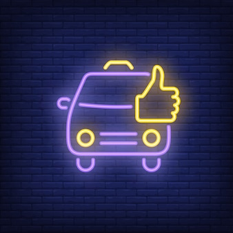 Buon segno al neon dei taxi