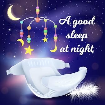 Buon sonno notturno con pannolini assorbenti