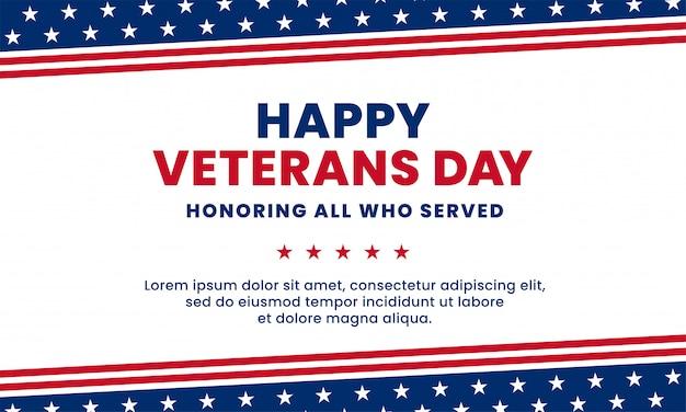 Buon veterans day in onore di tutti coloro che hanno servito. illustrazione di vettore dell'elemento della decorazione della bandiera degli sua america