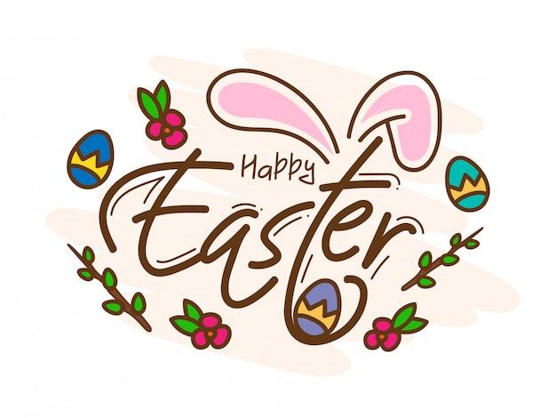 Buona carta di pasqua con bunny ear, uova stampate e floreale su bianco