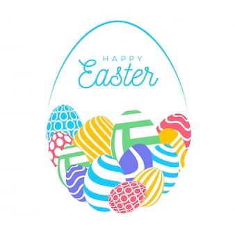 Buona carta di pasqua con uova. molte bellissime uova piatte multicolori realistiche sono disposte a forma di uovo grande. illustrazione per pasqua su fondo bianco.