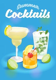 Buona estate blu sfondo astratto con ghiaccio fresco congelato cocktail alcolici margarita mojito whisky sour pubblicità business bar ristorante festa beach club illustrazione moderna