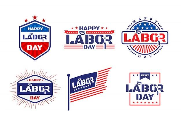 Buona festa del lavoro. etichette o etichette distintive per la festa del lavoro in america