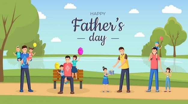 Buona festa del papà. papà felici e bambini piccoli, figli e figlie personaggi dei cartoni animati all'aperto.