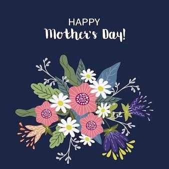 Buona festa della mamma, concetto di progetto floreale di tiraggio della mano, mazzo dei fiori con testo