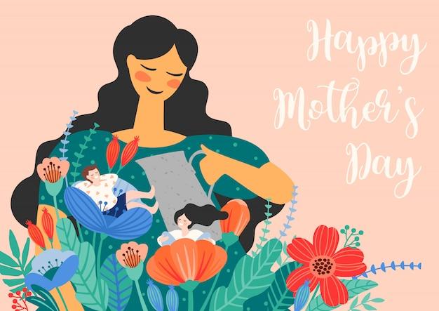 Buona festa della mamma. illustrazione con donne e bambini in fiori.