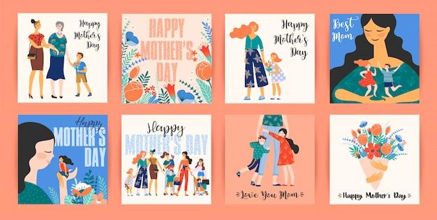 Buona festa della mamma. modelli vettoriali con donne e bambini.
