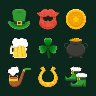 Buona fortuna elementi tradizionali irlandesi per st. giorno di patrick