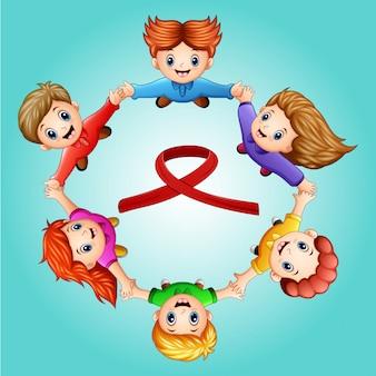 Buona giornata della gioventù con bambini circolari