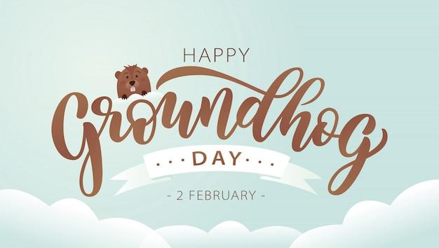 Buona giornata della marmotta. lettering testo con marmotta carina.