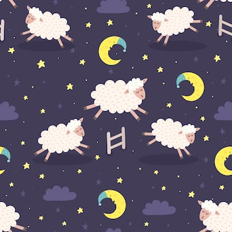 Buona notte seamless con pecore sveglie che saltano sopra un recinto. sogni d'oro