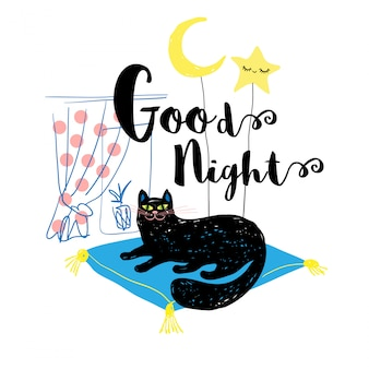 Buona notte simpatico sorriso gatto nero con luna e stella carina. disegna uno stile divertente per carta, copertina, banner, maglietta. illustrazione disegnata a mano