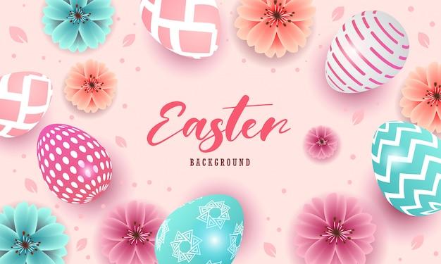 Buona pasqua bel design con uova e fiori