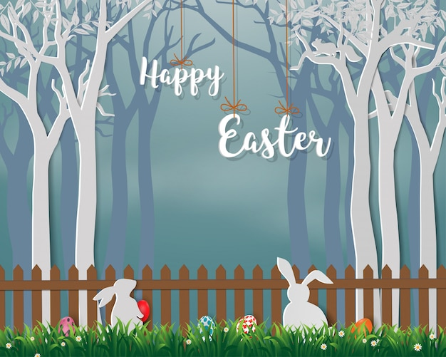 Buona pasqua con conigli carini e uova colorate