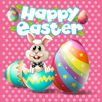 Buona pasqua con coniglietto e uova su sfondo rosa