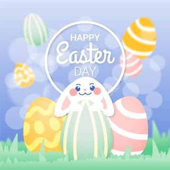 Buona pasqua con coniglietto e uova