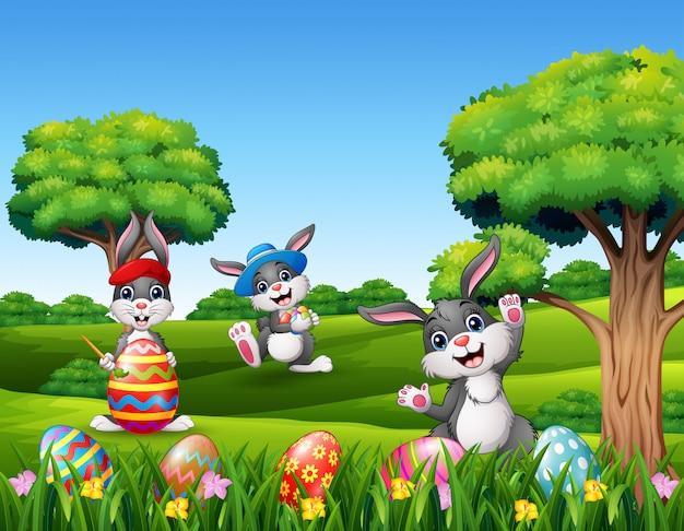 Buona pasqua con i coniglietti nella natura