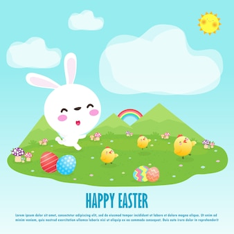 Buona pasqua. coniglio di coniglio e pulcini carini saluto dell'uovo di pasqua