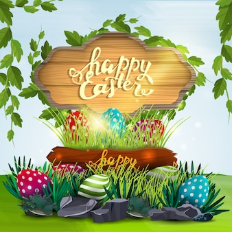 Buona pasqua, illustrazione vettoriale con cartello in legno e uova di pasqua