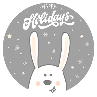 Buone vacanze card con coniglio e citazione