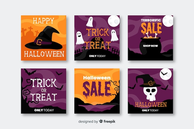 Buone vendite di halloween per la raccolta di post sui social media