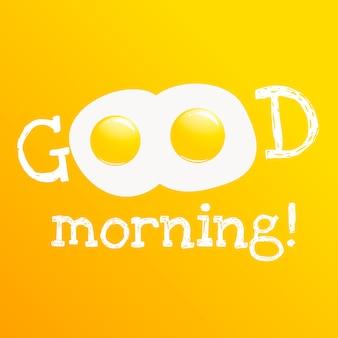 Buongiorno banner. classica gustosa colazione di uova strapazzate.