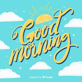 Buongiorno disegnato a mano lettering sfondo