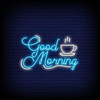 Buongiorno in stile neon. buongiorno insegne al neon.