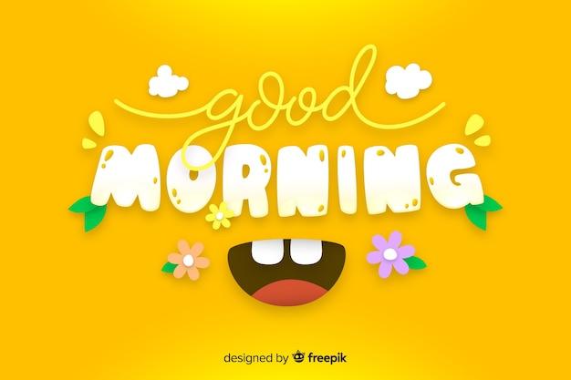 Buongiorno lettering sfondo decorativo