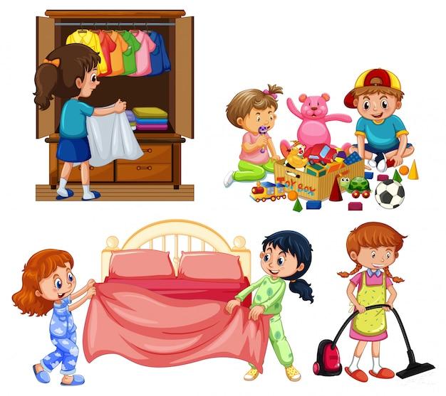 Buoni bambini che fanno i lavori domestici su fondo bianco