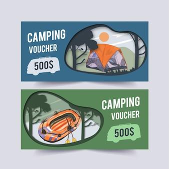 Buono da campeggio con illustrazioni di barche, furgoni, auto, tende e alberi.