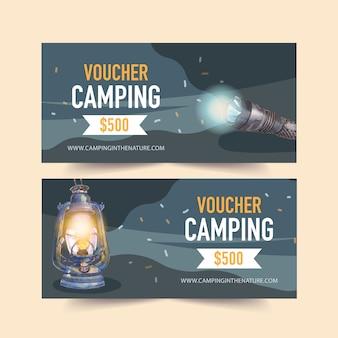 Buono da campeggio con illustrazioni di torcia e lanterna.