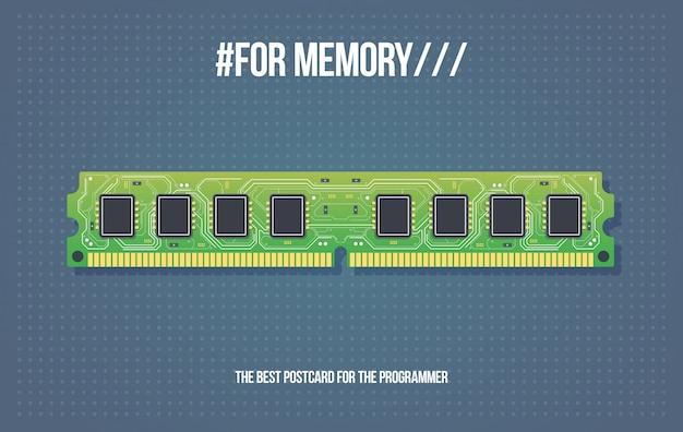 Buono regalo con modulo di memoria ram ddr. schede di memoria ram del computer. scheda elettronica in stile cartone animato.