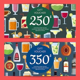 Buono regalo o modello di carta di sconto con bevande alcoliche in bicchieri e bottiglie